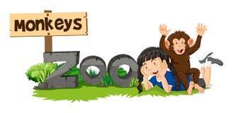 Обезьяна и девушка знаком зоопарка иллюстрация штока