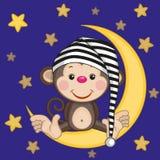 Обезьяна на луне иллюстрация штока