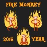 Обезьяна Нового Года в огне также вектор иллюстрации притяжки corel Стоковое Фото