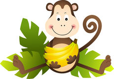 Обезьяна сидя с бананами Стоковое Фото