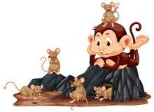 Обезьяна смотря крысу иллюстрация штока