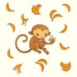 Обезьяна с бананом также вектор иллюстрации притяжки corel Стоковые Фотографии RF