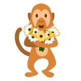 Обезьяна с цветками Стоковая Фотография