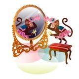 Обезьяна цирка с зеркалом Стоковые Изображения RF