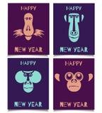 Обезьяны установили счастливый Новый Год Стоковое Изображение RF