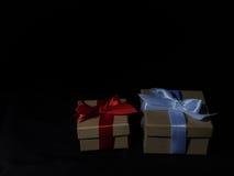 Обернутая винтажная подарочная коробка скопируйте космос Стоковая Фотография RF