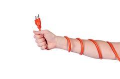 обернутая сила шнура рукоятки электрическая померанцовая Стоковые Фотографии RF