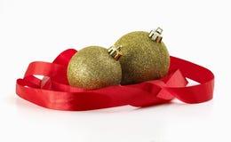 обернутая тесемка рождества шариков красная Стоковые Фото
