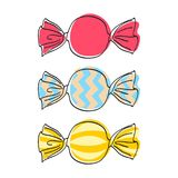 Обернутые установленные конфеты - иллюстрация стиля эскиза Стоковое Фото