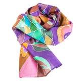 Обернутый коричневый, фиолетовый, зеленый batic silk шарф Стоковая Фотография