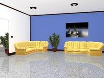 обеспеченная живущая самомоднейшая комната Стоковая Фотография RF