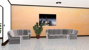 обеспеченная живущая самомоднейшая комната Стоковое Изображение RF