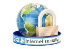 обеспеченность перевода интернета принципиальной схемы 3d Земля с padlock, защищает концепцию, Стоковая Фотография RF