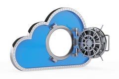 обеспеченность перевода интернета принципиальной схемы 3d облако 3d с безопасной дверью иллюстрация вектора