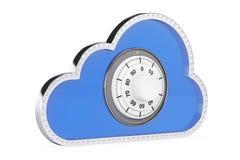обеспеченность перевода интернета принципиальной схемы 3d облако 3d с Padlock Стоковое Фото