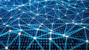 Обеспечивает доступ безопасностью с бинарным кодом Концепция бинарного кода Цифров одно и нул на голубой предпосылке иллюстрация вектора
