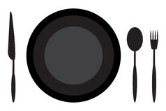 Обедать нож и вилка ложки плиты этикета Стоковая Фотография RF
