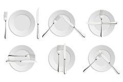 Обедать этикет, вилки и сигналы ножей Стоковые Изображения