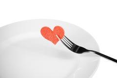 Обедающий дня валентинки к ресторану на белой предпосылке Стоковые Изображения