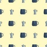 Обедающий домочадца иллюстрации вектора картины утварей кухни безшовный варя kitchenware еды Стоковая Фотография RF