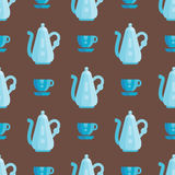 Обедающий домочадца иллюстрации вектора картины утварей кухни безшовный варя kitchenware еды Стоковые Изображения