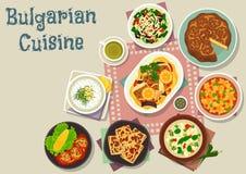 Обед болгарской кухни традиционный dishes значок иллюстрация штока