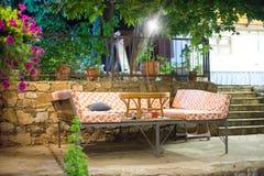 Обеденный стол ночи на ресторане Турции реки Стоковое Изображение