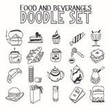 Обед еды и завтрака утра beveranges или иллюстрация вектора