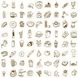 Обед завтрака утра или doodle кухни обедающего иллюстрация вектора