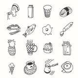 Обед завтрака утра или doodle кухни обедающего бесплатная иллюстрация