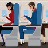 Обед на самолете Стоковая Фотография