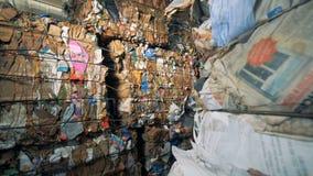 Обжатые блоки сора коробки и бумаги Концепция утилизации отходов сток-видео