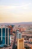 Обзор городского Лас-Вегас в вечере Стоковые Фото