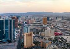 Обзор городского Лас-Вегас в вечере Стоковое Изображение RF