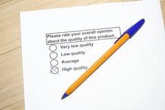 обзор качества продукции стоковое фото rf