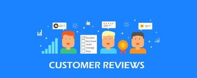 Обзор клиента, рекомендация, оценка, обратная связь, комментарий, концепция оценки Плоское знамя вектора дизайна Стоковое Изображение RF