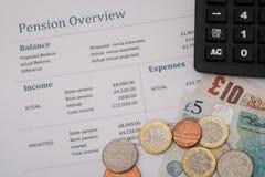 Обзор пенсии Великобритании с великобританскими деньгами, государственной пенсией 2017 вычисляет Стоковые Изображения