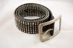 обзор пояса черный кожаный Стоковое фото RF