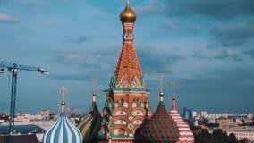 Обзор собора ` s базилика Святого сценарный верхний города Москвы видеоматериал