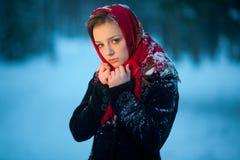 Обиденная девушка в лесе Стоковые Фото