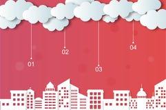 Облака и города вектора Стоковое Фото