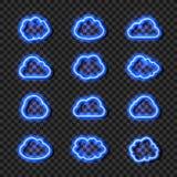 Облака набор вектора неоновые сияющие, накаляя яркие голубые линии, собрание, изолировали иллюстрация вектора
