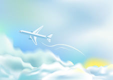 облака самолета сверх Стоковое Фото