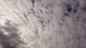 Облака циррокумулусов в промежутке времени - банки белых облаков дуя с тенями и крестами каждые другие с чудесным создавая програ акции видеоматериалы