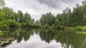 Облака шторма над озером видеоматериал