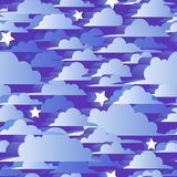 Облака 3d и звезды безшовной картины голубые Иллюстрация концепции вектора бесплатная иллюстрация