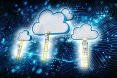 Облако вычисляя цифровую иллюстрацию, предпосылку технологии иллюстрация вектора
