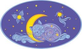 Облако в форме котенка спать на месяц иллюстрация штока