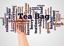 Облако и рука слова пакетика чая с концепцией отметки бесплатная иллюстрация