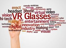 Облако и рука слова стекел VR с концепцией отметки стоковое изображение